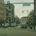 """Cityscape In Green"" - 8x8 - Diane Massey Dunbar OPA"