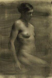 Juliette Aristides – Yael - 25″x 20″ – Charcoal on toned paper