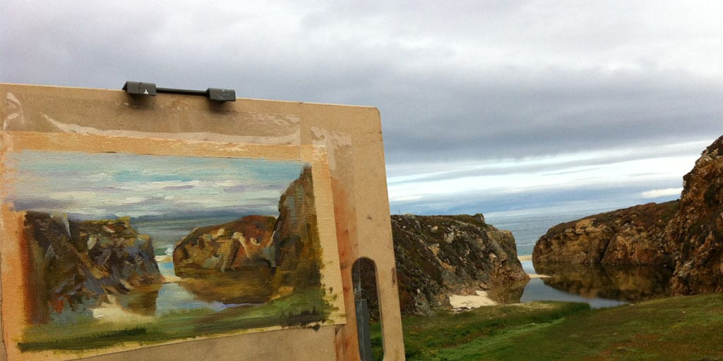 outside painting of landscape