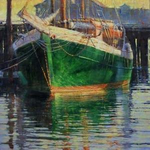 In A Beautiful Pea Green Boat by Elizabeth Pollie 24 x 24 Oil